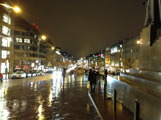 Wenceslas Square in the rain